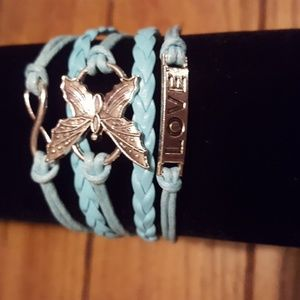 DIY Infinity Love Butterfly Leather Silver Plated